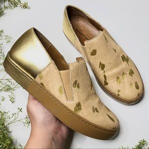 Free People ~ gold speckled slip ons